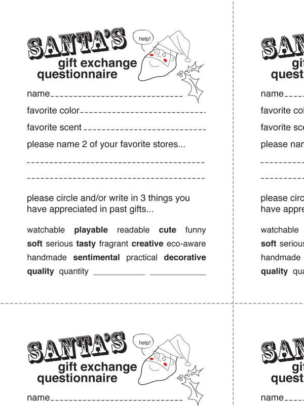 Secret Santa Questionnaire Free Questions For Secret Santa | Party ...